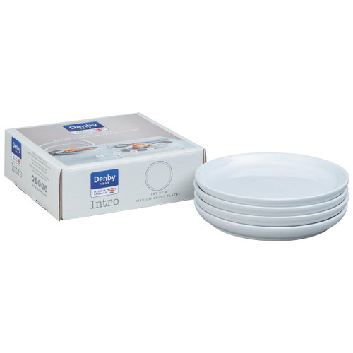 Denby Intro Stone White Set Of 4 Medium Coupe Plates