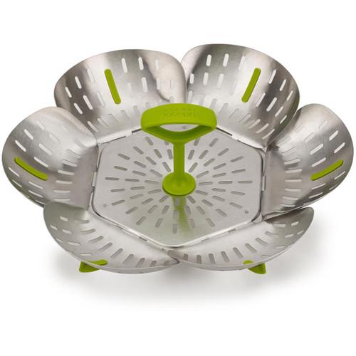 Green Joseph Joseph Steel Bloom Folding Steamer Basket
