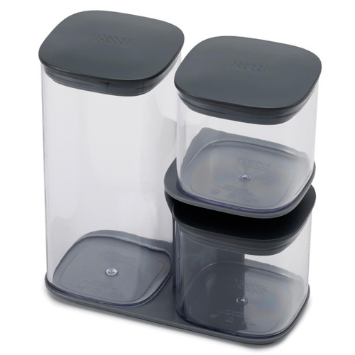 Grey Joseph Joseph Podium 3-piece storage jar set with stand