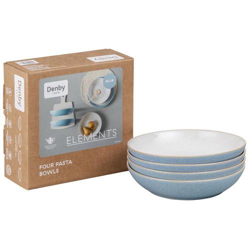 Denby Elements Light Blue 4 Piece Pasta Bowl Set