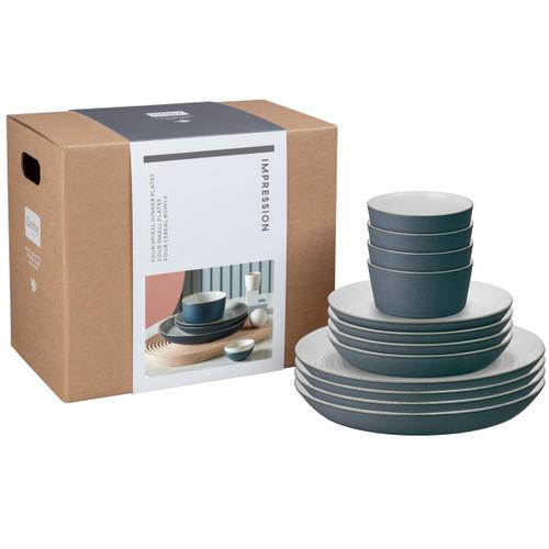 Denby Impression Charcoal 12 Piece Tableware Set