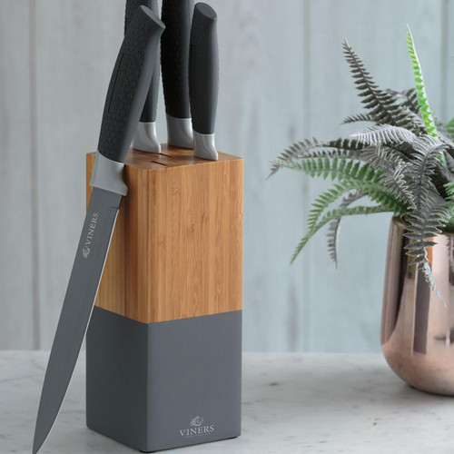 Viners Horizon Grey 6 Piece Knife Block Set Lifestyle