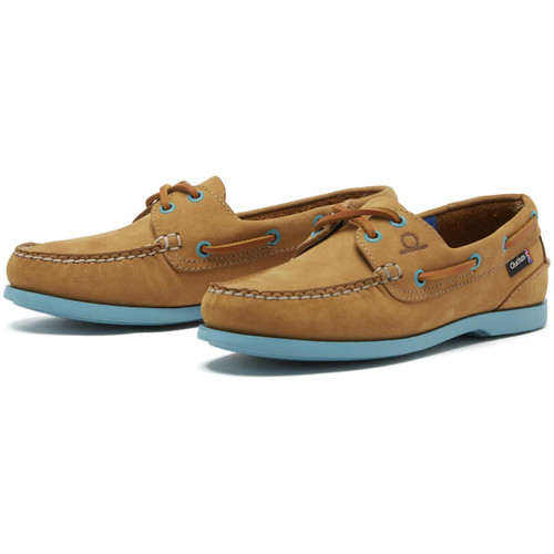 Tan/Turquoise  Chatham Womens Pippa II G2 Deck Shoes