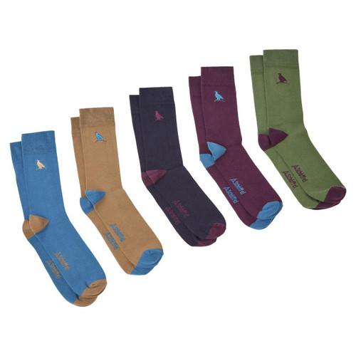 Dark Teal Ptarmigan Mix Schoffel Mens Combed Cotton Sock (Box Of 5)
