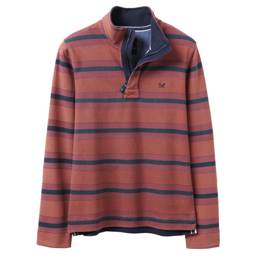 Red/Navy Crew Clothing Mens Wide Stripe Padstow Top
