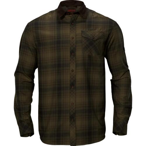 Olive Green Check Harkila Mens Driven Hunt Flannel Shirt