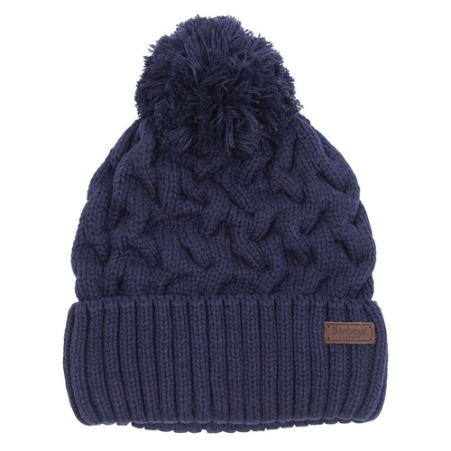 Navy Barbour Mens Gainford Cable Beanie