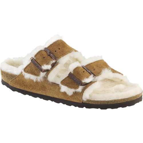 Mink Birkenstock Womens Arizona Fur Suede Leather Sandal