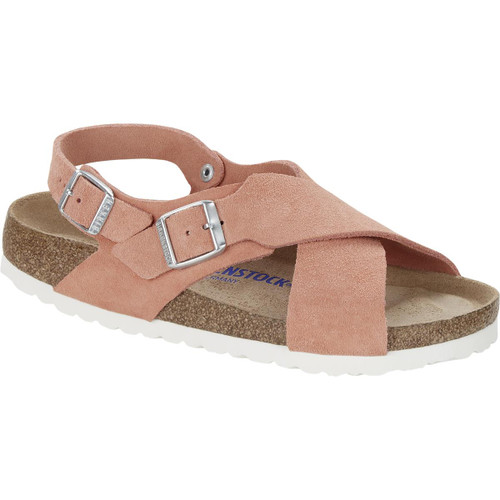 Coral Peach Birkenstock Womens Tulum Soft Footbed Suede Leather Sandal