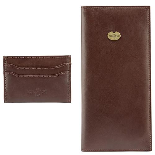 Marron Fonce Le Chameau Licence Wallet & Card Wallet Gift Set