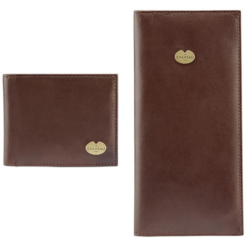 Marron Fonce Le Chameau Bifold Wallet & Licence Wallet Gift Set