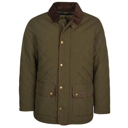 Dark Olive Barbour Mens Burton Quilted Jacket