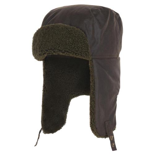 Olive Barbour Mens Morar Wax Trapper Hat