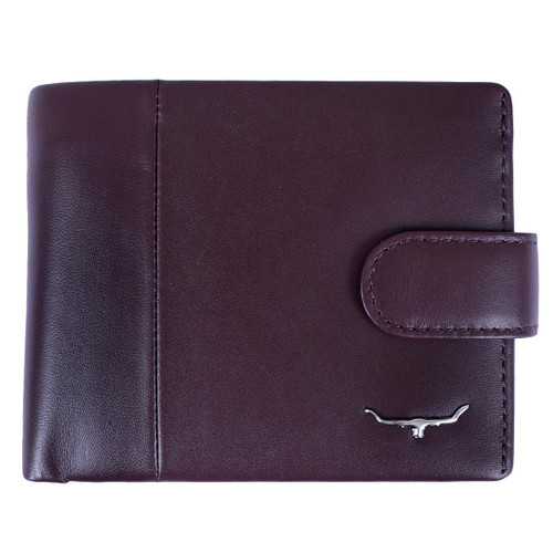 Wine R.M. Williams Mens Wallet With Coin Pocket And Tab