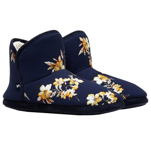 Navy Floral  Joules Womens Cabin Faux Fur Lined Slippers