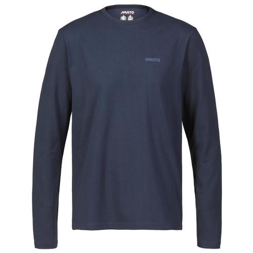 Navy Musto Mens Marina Long Sleeve Logo Tee