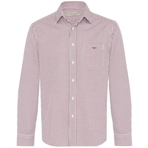 Burgundy/White R.M. Williams Mens Collins Shirt