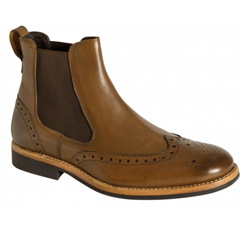 Burnished Tan Hoggs Of Fife Stanley Semi-Brogue Dealer Boots