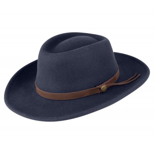 Navy Hoggs Of Fife Perth Crushable Felt Hat