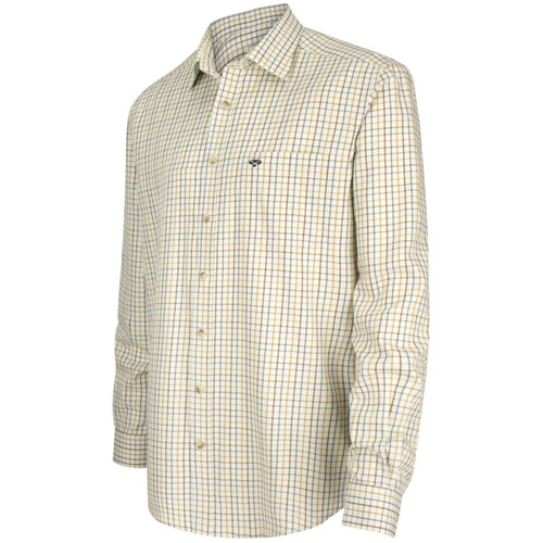 Brown/Gold/Navy Hoggs Of Fife Mens Inverness Cotton Tattersall Shirt