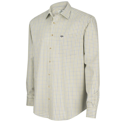 Navy/Olive Hoggs Of Fife Mens Inverness Cotton Tattersall Shirt