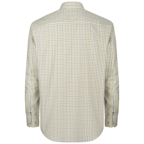 Navy/Olive Hoggs Of Fife Mens Inverness Cotton Tattersall Shirt Back