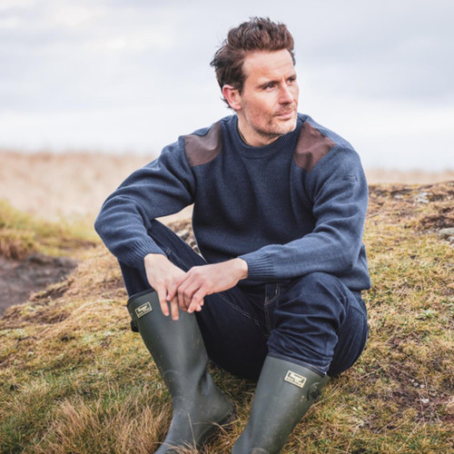 Marled Navy Hoggs Of Fife Melrose Hunting Pullover Lifestyle