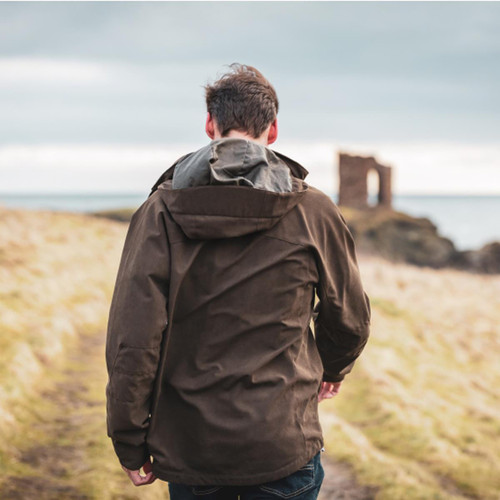 Dark Green Hoggs Of Fife Mens Struther Zip Through Jacket Back