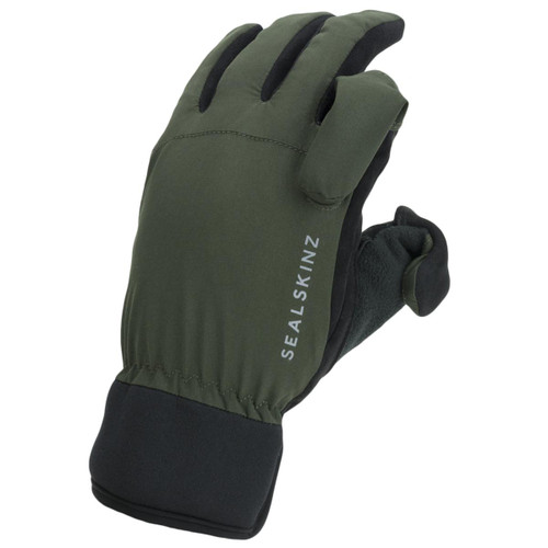 Olive/Black Sealskinz Waterproof All Weather Sporting Glove Folded Finger