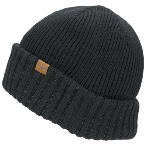 Black Sealskinz Waterproof Cold Weather Roll Cuff Beanie