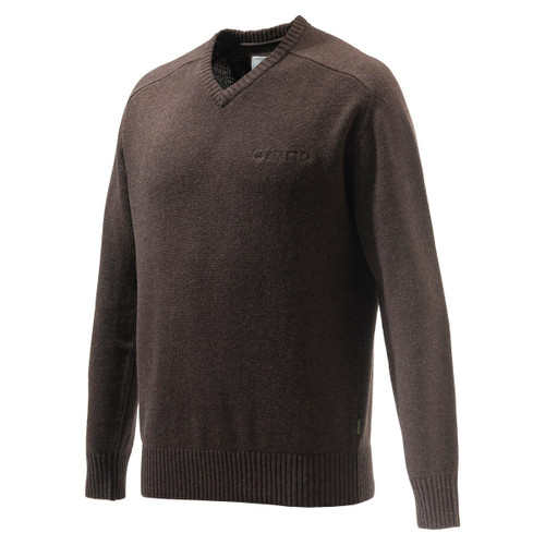 Brown Melange Beretta Somerset V-Neck Sweater
