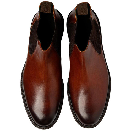 Brush Painted Chestnut Loake Mens Huxley Chelsea Boot Top