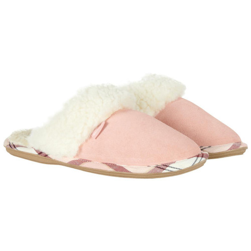 Pink Suede Barbour Womens Lydia Mule Slippers