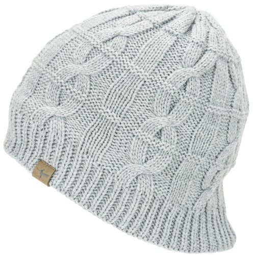 Grey Marl Sealskinz Waterproof Cold Weather Cable Knit Beanie