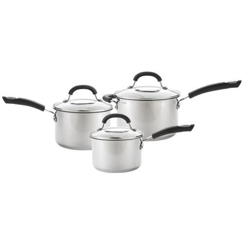 Circulon Total Stainless Steel 3 Piece Saucepan Set