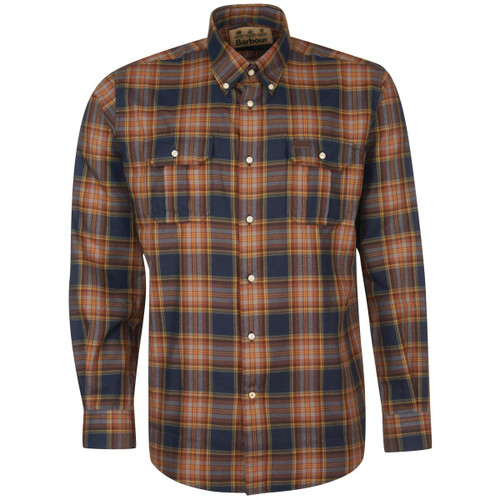 Navy Barbour Mens Singsby Thermo Weave Shirt