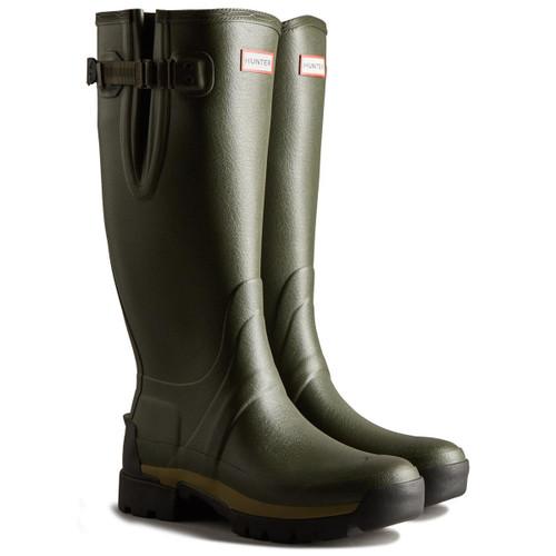 Dark Olive Hunter Mens Balmoral Adjustable Tech Sole Wellington Boots