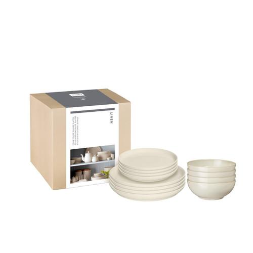 Denby Linen 12 Piece Coupe Tableware Set