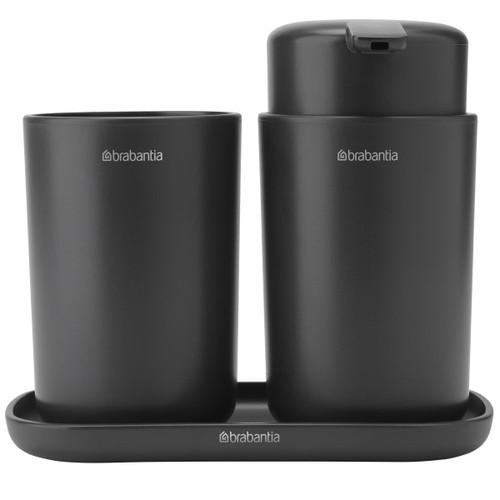 Dark Grey Brabantia Bathroom Accessory Set Of 3