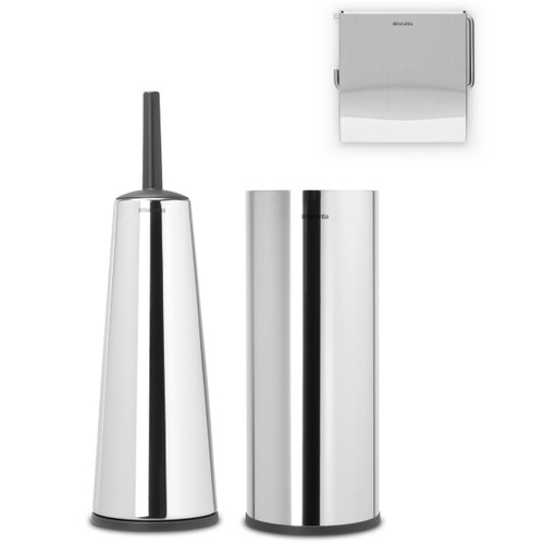 Brilliant Steel Brabantia Renew Toilet Accessory Set Of 3