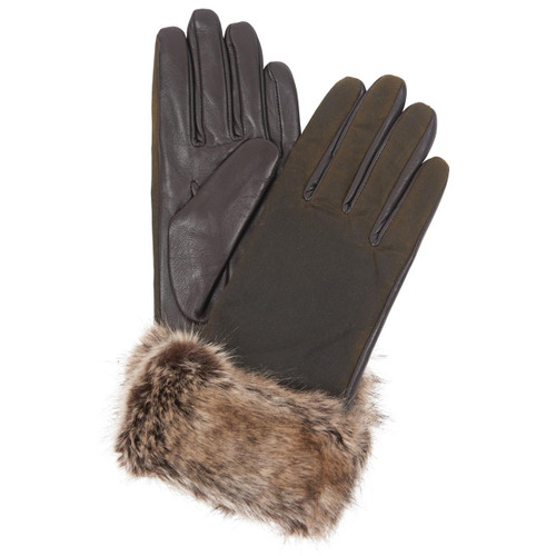 Olive/Brown Barbour Womens Ambush Wax Leather Gloves