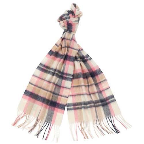 Pink/Hessian Barbour Womens Vintage Winter Plaid Scarf