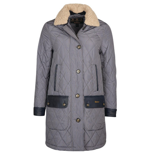 Dark Navy Check Barbour Womens Killhope Quilted Jacket