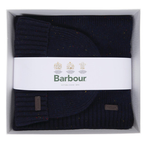 Navy Barbour Mens Carlton Fleck Beanie and Scarf Gift Set