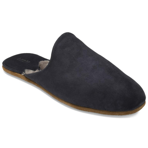 Navy Suede Loake Mens Cavalry Slippers