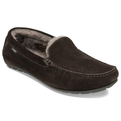 Chocolate Suede Loake Mens Guards Slippers