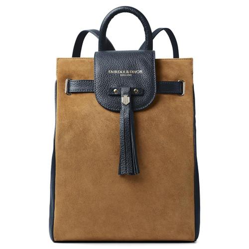 Tan/Navy Fairfax & Favor Womens Windsor Backpack