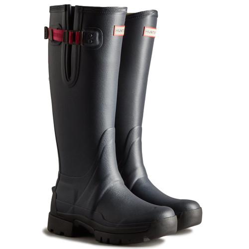 Navy/Peppercorn  Hunter Womens Balmoral Adjustable Tech Sole Wellington Boots