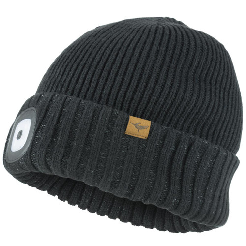 Black SealSkinz Waterproof Cold Weather LED Roll Cuff Beanie