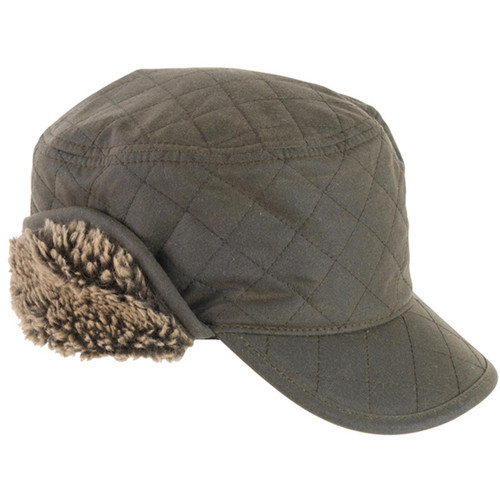 Olive Barbour Mens Stanhope Trapper Wax Hat